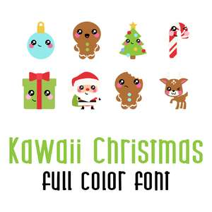 kawaii christmas full color font