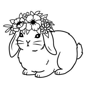 floppy ear bunny with flower crown