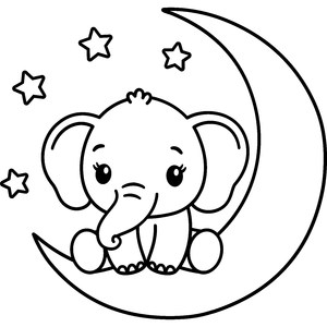 baby elephant on moon
