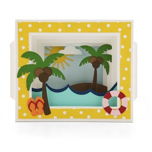 shadow box card ocean