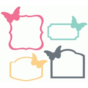 set of 4 butterfly labels