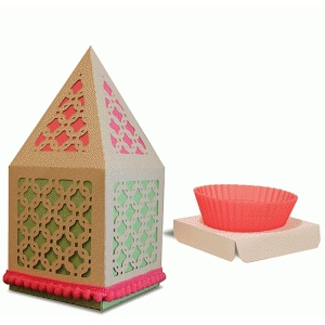 peaked roof cup cake box chain link