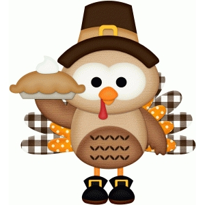 pilgrim owl dressed as turkey holding pie pnc