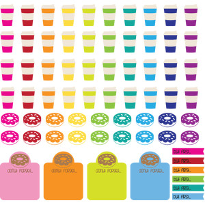 coffee donuts planner tabs