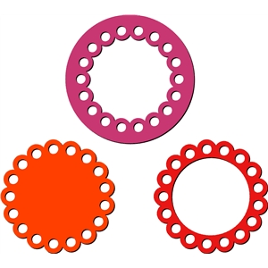 3 scalloped circle frames set