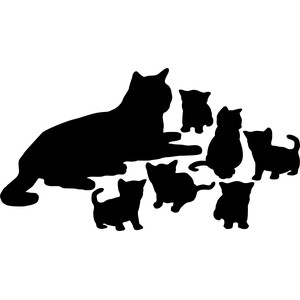 mother cat with kittens silhouette