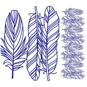 feathers papercut repeating border