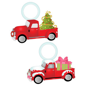 red christmas trucks wine tags
