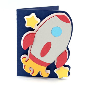 rocket in space card