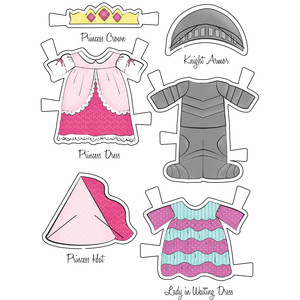 little friends paper set kitty princess and knight