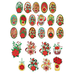 poinsettia christmas stickers