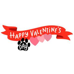 happy valentine's day banner with paw print