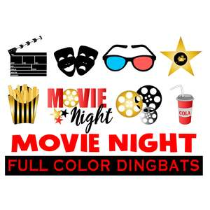 SI movie night dingbats fonts