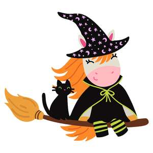 halloween unicorn in witch costume