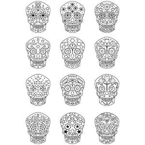 sugar skull coloring stickers