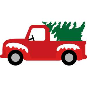 red truck and pine tree