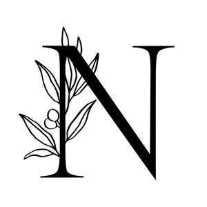 letter n alphabet initial monogram with olive branch