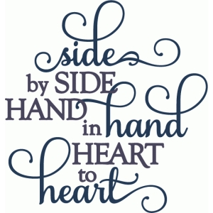 side, hand, heart - layered phrase