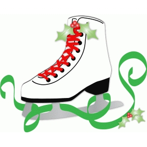 christmas ice skate w/ribbon