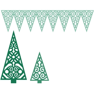 2 christmas trees and pennant banner
