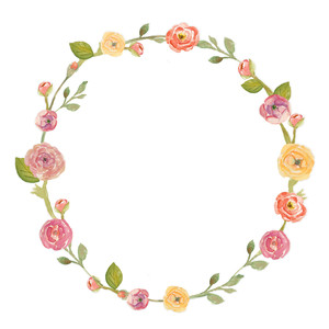 round painted flower wreath