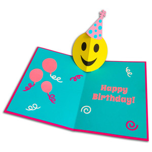 happy face birthday pop-up card