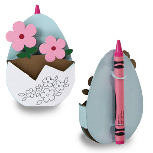 flower egg crayon card