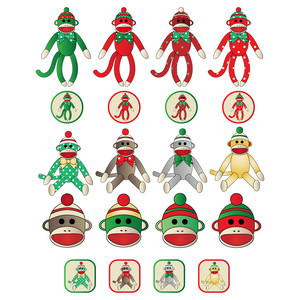 christmas monkey planner stickers