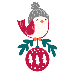 little bird with christmas ornament