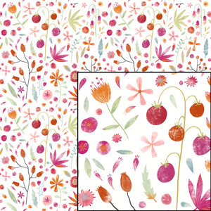 painted flower seamless botanical pattern