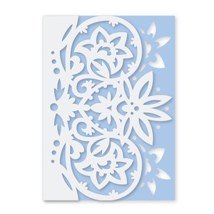 lace edge lotus heart folded card