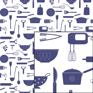 kitchen cooking seamless repeat pattern