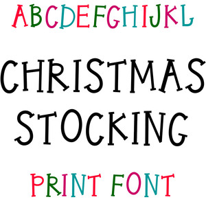 christmas stocking print font