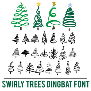 swirly christmas trees dingbat font