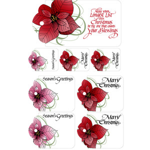 christmas quote & poinsettia sticker tag labels