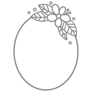 simple flower oval frame