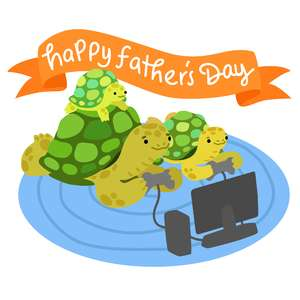father's day turtle family playing video games