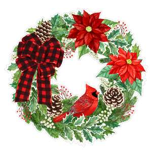 cardinal in red poinsettia christmas wreath