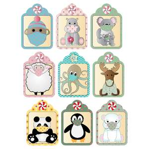 peppermint-themed masked critter gift tags