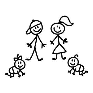 stick family children and babies