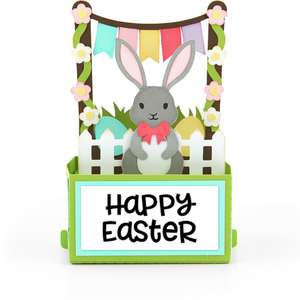 rectangle pop up card birthday easter bunny