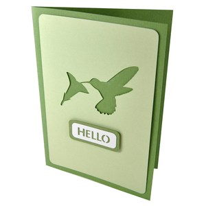 hummingbird hello stencil card