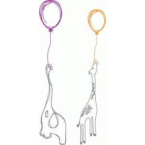 elephant and giraffe balloon sketch
