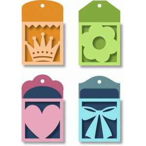 pocket tags - crown, flower, heart, ribbon