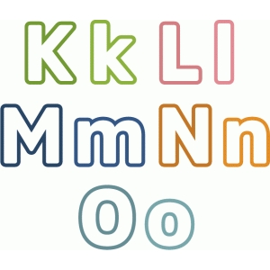 outline block letters k-o