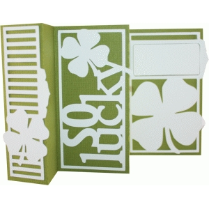 accordion fold card - so lucky clover