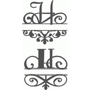 split flourish monogram set - h