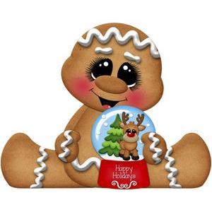 gingerbread holding christmas snowglobe