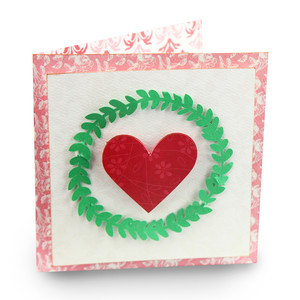 leaf wreath folded valentine card