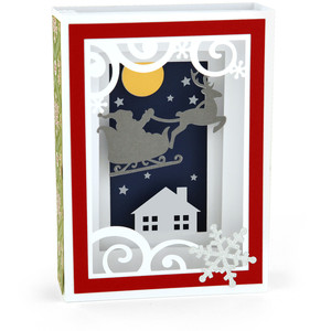shadow box card santa sleigh